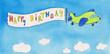 Flugzeug zieht Happy Birthday Banner