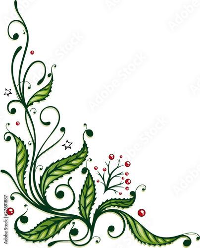Vektor: Weihnachten, Advent, Stechpalme, Ranke, Ilix