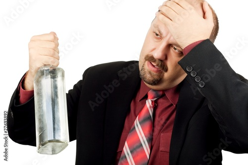 Depressed alcoholic man isolated on white background