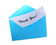 Blue envelope with Thank You