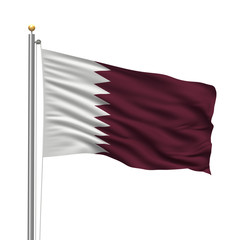 Flag of Qatar waving in the wind in front of white background