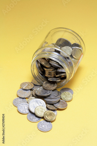 Coins and Glass Jar