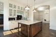 Kitchen with white wood cabinetry
