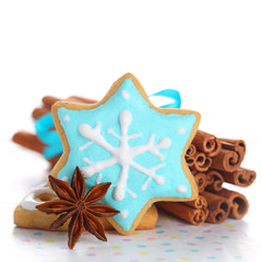 Christmas cookies with cinnamon and anise on white isolated back