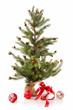 Little Christmas tree with red ribbon gifts on white