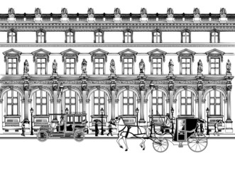 street in Paris with horse carriage and old car