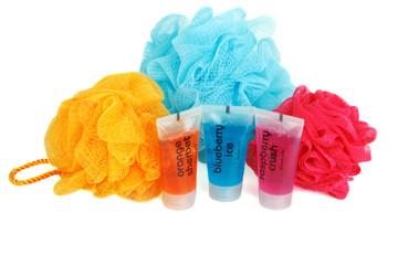 Set for bath colour sponges
