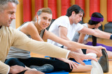 Aerobic stretching exercises at gym