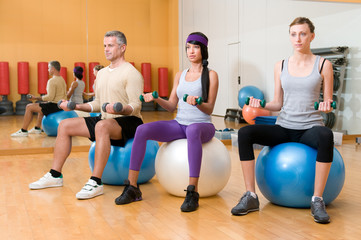 Exercising with fitness ball