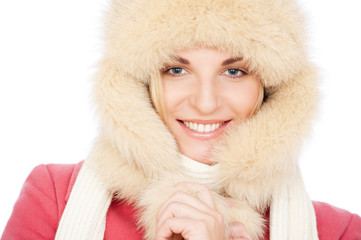 smiley woman in fur hat.