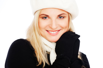 woman in beret and scarf