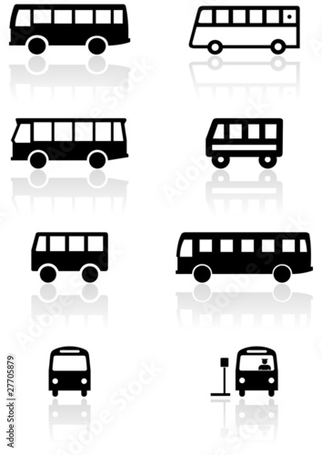 Vector set of different bus or van symbols.