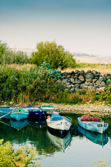 Boats on Galilee sea