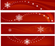 snow flakes banner with red background