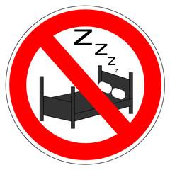 Panneau interdit de dormir