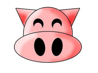 Cartoon happy pig face isolated on white