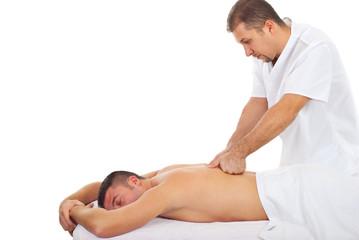 Man receive deep back massage