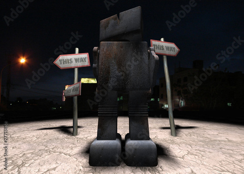 A robot is undecided which way to go amongst conflicting signs