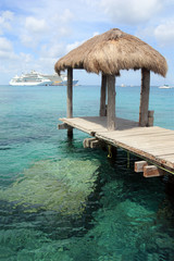 cruise ships docked in a tropical destination in mexico