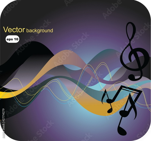 Music background with waves and notes