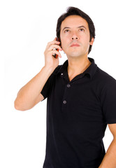 young casual man on the phone, isolated on white