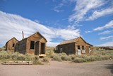 Two abandonned buildings in Bodie, ghost town, c. 1800s, CA