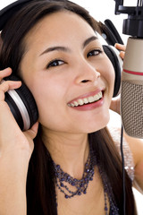 beautiful woman in sound studio