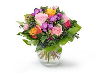 Blumenstrauss mit rosa violetten Rosen in Vase