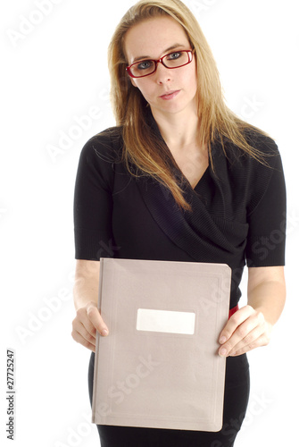 business woman holding report