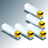 Group of Trucks Driving in One Direction 3D vector