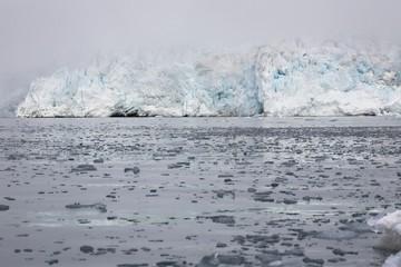 Arctic glacier in the fog