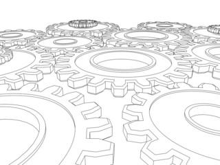 Vector render of cogs/ gears integrating