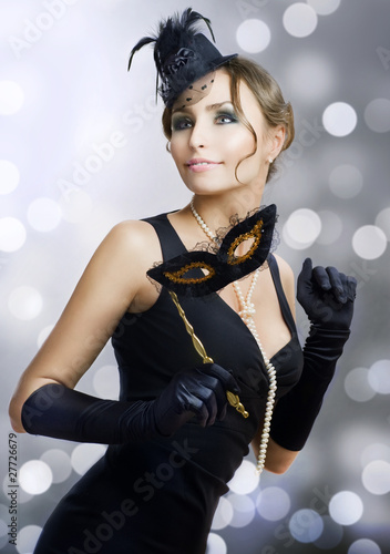 Romantic Beauty with Carnival mask.Masquerade