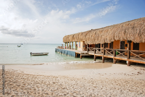 Thatched Roof Restaurant on the Beach