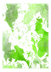 leaves_-white and green-white frame