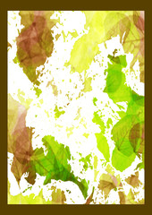 leaves-brown green white yellow-brown frame