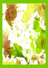 leaves-brown green white-green frame