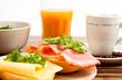 Leinwandbild Motiv Frühstück Gesund Brötchen Kaffee Obst Salat