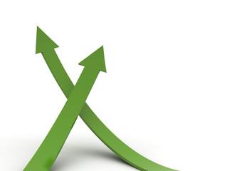 Green arrows rising