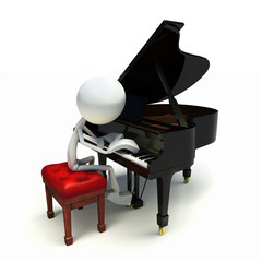 3D human playing the piano