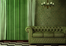 Vintage wnętrze featuring żyrandol i zieloną skórzaną sofą.
