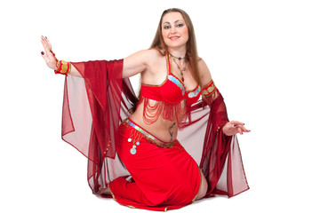 Arabic dancer in traditional red dress