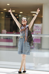young woman have nice time in shopping