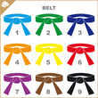 COLORED BELTS-MARTIAL ARTS SIMBOL,LOGO SET.Vector