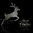 Silver Christmas  deer made of snowflakes with stars on black ba