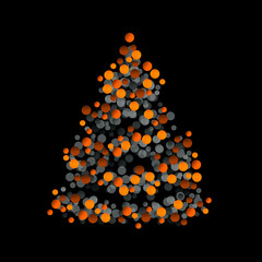 Graphic Christmas tree on black