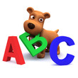 3d Small dog helps learn the alphabet