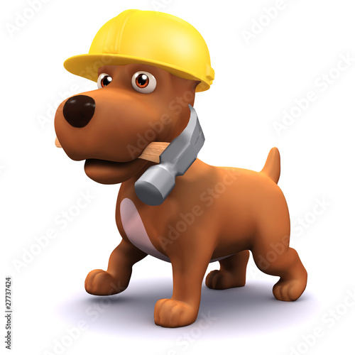 3d Small dog helping out on a project