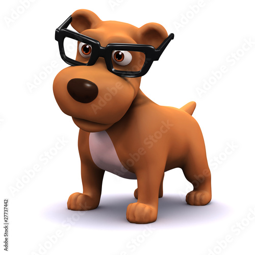 3d Small dog looking studious in his spectacles