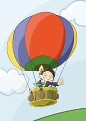 Businessman flights by colorful balloon